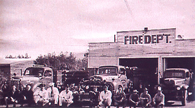 Sepia toned picture of the original fire department